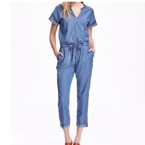 Old navy chambray short sleeve jumpsuit